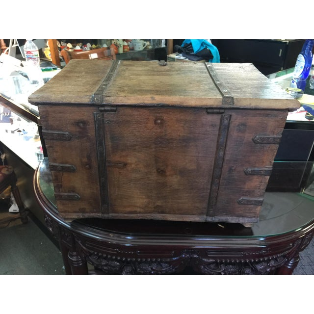 Antique Strong Box With Iron Straps For Sale In San Francisco - Image 6 of 8