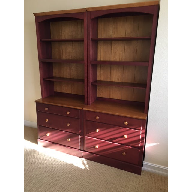 Solid maple Ethan Allen dressers with bookcase tops from the hard to find Country Colors Collection. Finish is cranberry...