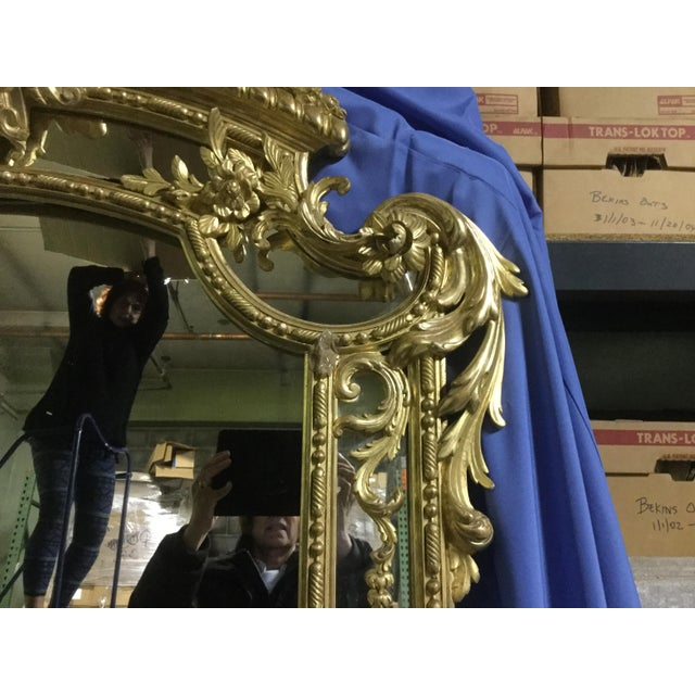 French 6 ' Tall French 19th C. Gilt Mirror For Sale - Image 3 of 10