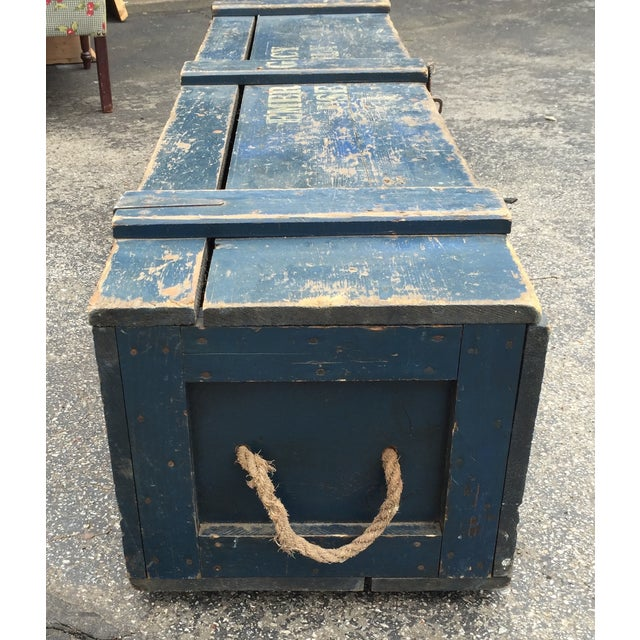 """Blue """"For Emergency Only"""" Stenciled Wood Trunk - Image 3 of 5"""