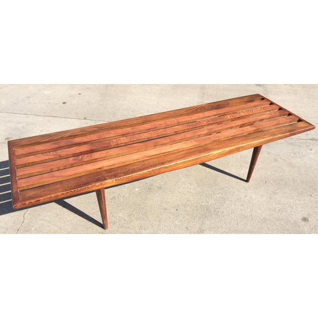 Mid Century Two Tone Coffee Table By Weiman: Mid-Century Danish Modern Slat Bench Coffee Table