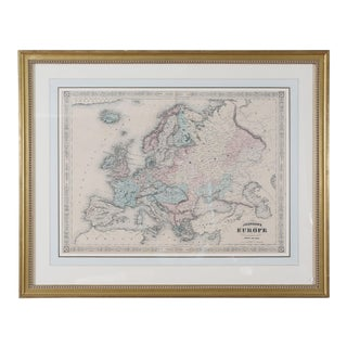 Gilt Wood Framed & Matted Map / Europe For Sale