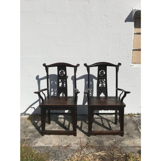 Asian 19th Century Chinese Chairs - A Pair For Sale - Image 3 of 4