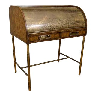 Hollywood Regency Design Mastercraft Roll Top Brass Bamboo Writing Desk For Sale