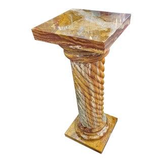 Brown Marble Bolumn Pedestal For Sale
