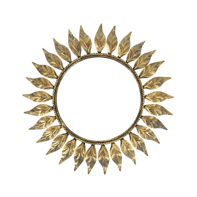 Petit Sunburst Mirror Made From Patinized Brass For Sale