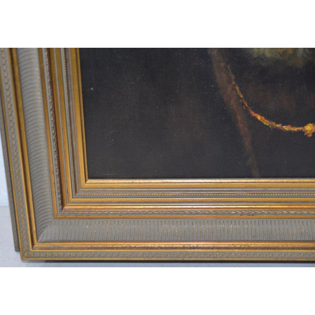 Mid 20th Century Mid 20th Century Oil Portrait of a Bearded Man After Rembrandt For Sale - Image 5 of 9
