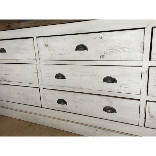 Vintage Weathered White Buffet or Triple Dresser - Image 6 of 11