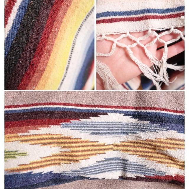 Vintage Mexican Saltillo Blanket - Image 4 of 6