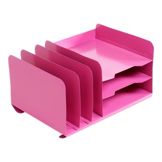 Space Age Desktop File Holder, Refinished in Pink