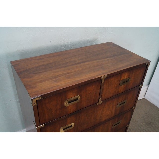 Vintage Lane Campaign Style Walnut Tall Chest - Image 4 of 10