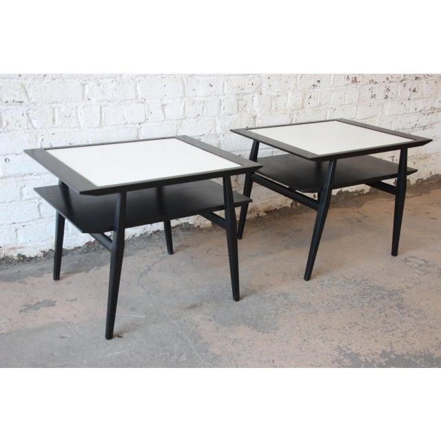 Walnut Bertha Schaefer for Singer & Sons Ebonized Mid-Century Modern End Tables- A Pair For Sale - Image 7 of 13