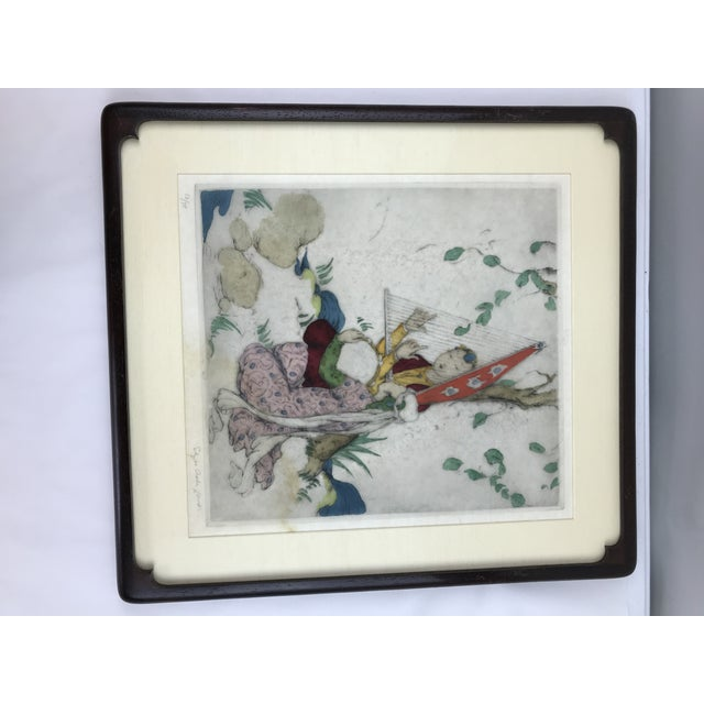 Framed Elyse Ashe Lord Women With Harp and Tamborine Musical Painting For Sale - Image 13 of 13
