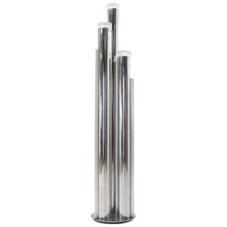 Chrome Triple Candle Shape Cylinder Base Glass Prisms Floor Lamp For Sale