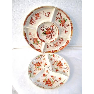 Vintage Japanese Coral Floral Divided Dishes - A Pair Preview