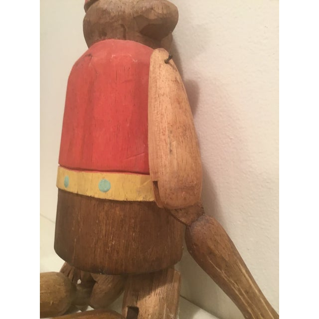 """Fabric 1930s Folk Art Wooden Hand Carved Monkey """"Puppet"""" For Sale - Image 7 of 9"""