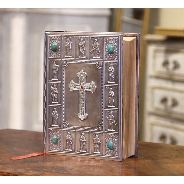 Silver Midcentury French Holy Bible With Silver Plated Repousse Cover Dated 1960 For Sale - Image 8 of 8