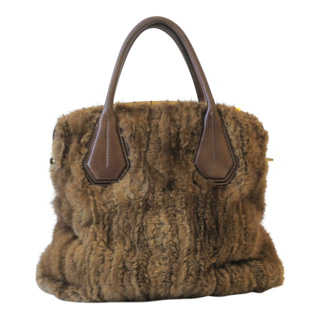 Tod's Brown Leather, Mink and Brass Handbag For Sale