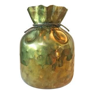1970s Hollywood Regency Sarreid Brass Coin Bag Vase For Sale