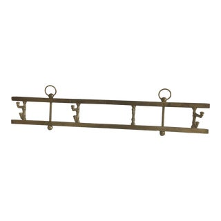Vintage English Brass Hanging Wall Rack For Sale