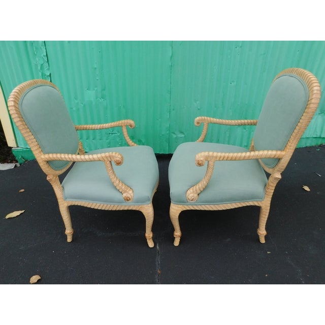 Early 21st Century Hollywood Regency Carved Knotted & Twisted Rope Bergere Chairs - a Pair For Sale - Image 5 of 11