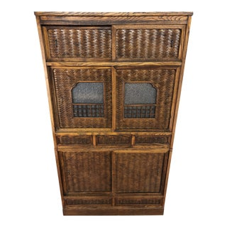 Antique Japanese Two Piece Tansu Chest With Woven Door and Drawer Fronts For Sale