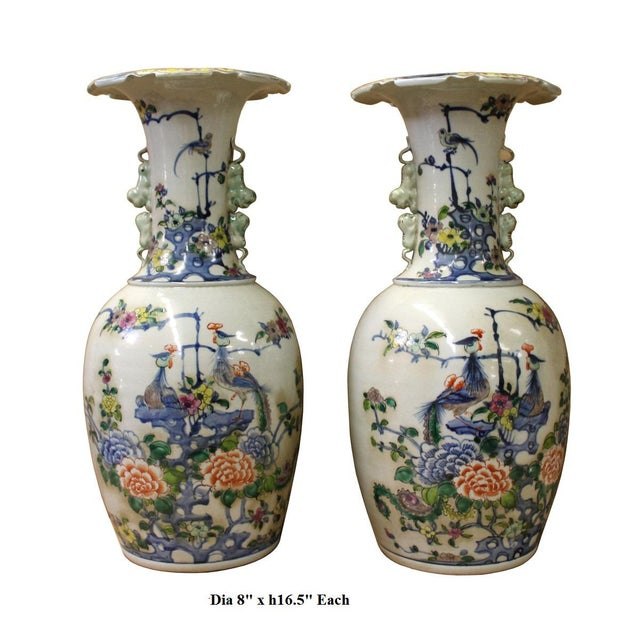 Pair Chinese Off White Porcelain Flower Birds Foo Dogs Accent Vases For Sale - Image 5 of 5