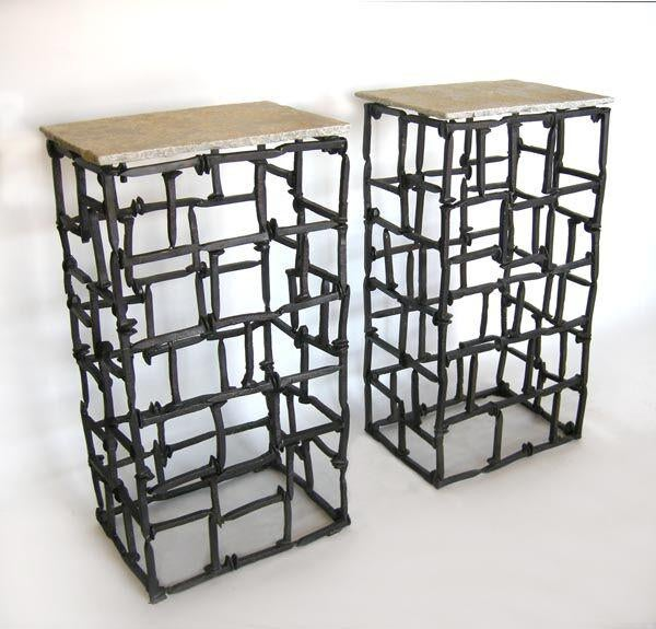 Bon Pair Of Consoles/pedestals Made From Antique Railroad Spikes. Stone Top.  Can Be