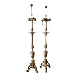 Vintage Chapman Brass Tripod Base Table Lamps For Sale