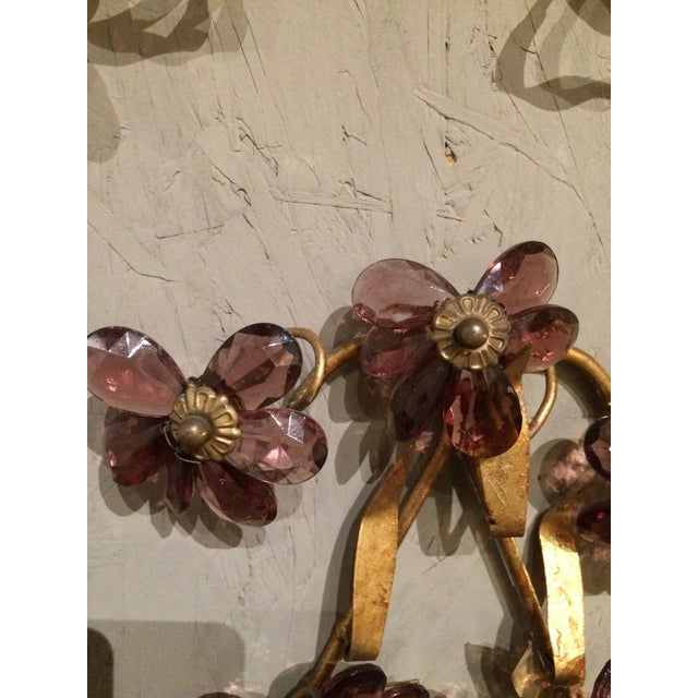 Italian Gilt Metal Wall Sconces with Amethyst Crystals - A Pair For Sale - Image 4 of 6