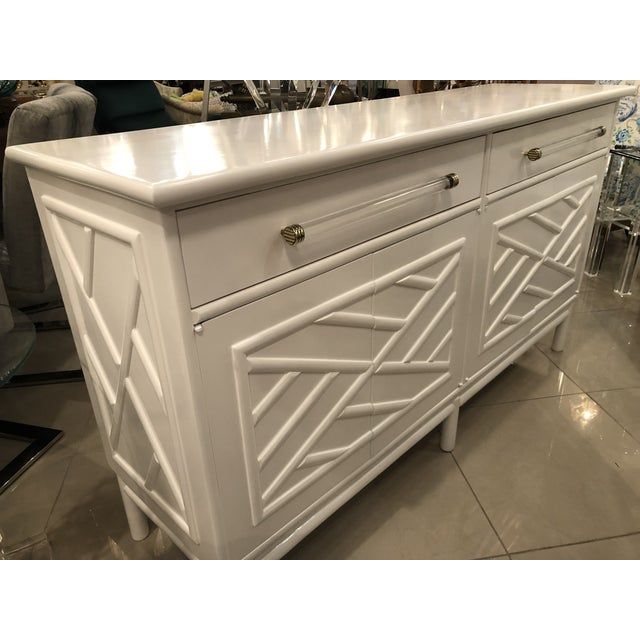 Lacquered White Chinese Chippendale Faux Bamboo Lucite Brass Credenza Buffet - Image 10 of 13