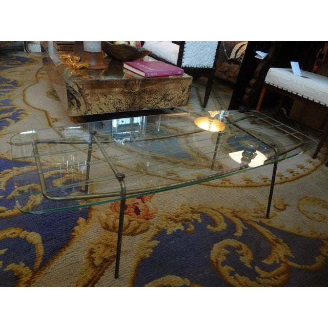 Italian Gio Ponti Inspired Brass and Glass Coffee Table For Sale In Houston - Image 6 of 13