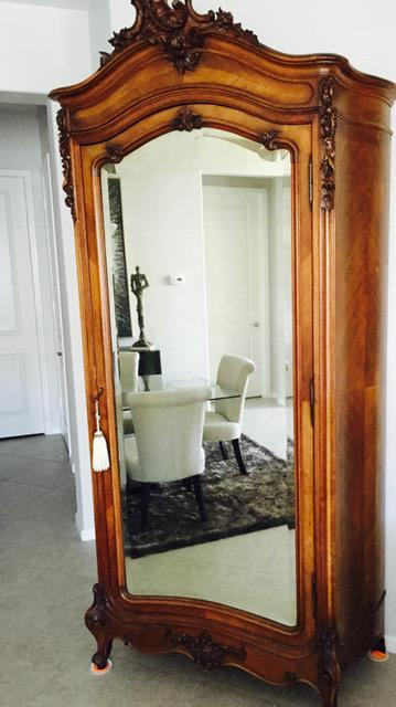 French Louis XV Style Armoire With Front Mirror Door, Four Shelves Inside  And A Bottom