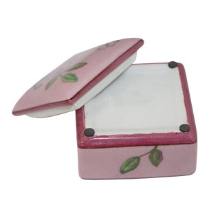 Contemporary Flower Painting Square Porcelain Box - Jewelry Box For Sale