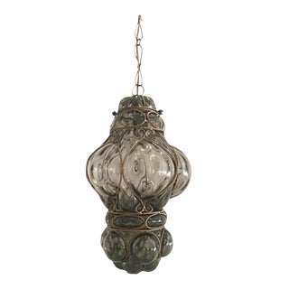 Vintage Hand Blown Glass Cage Pendant For Sale