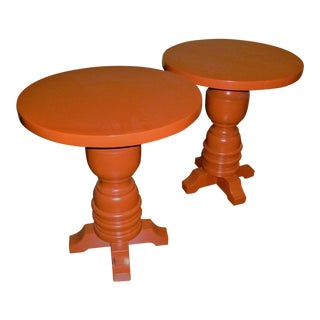 1960s Mid-Century Modern Orange Lacquered Side Tables - a Pair