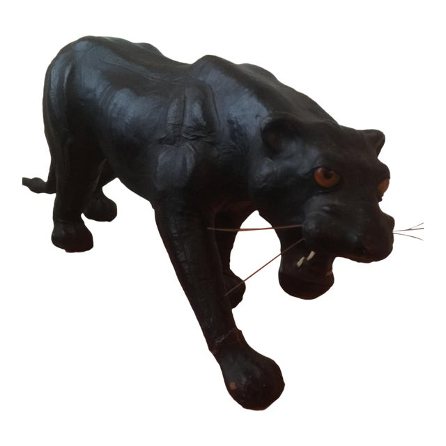 Papier Mache Leather Covered Panther Figurine | Chairish