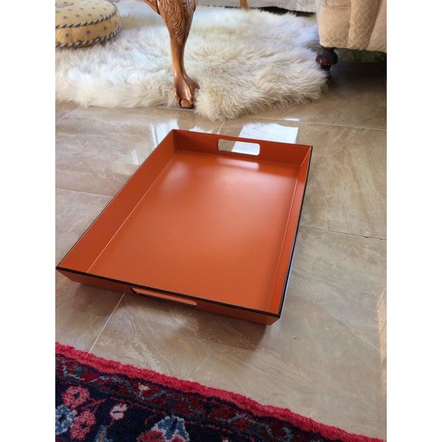 Orange Mid Century Modern Orange and Espresso Bar Tray For Sale - Image 8 of 13