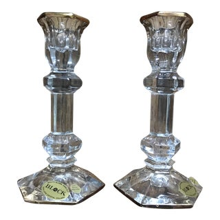 Block Crystal Candleholders- A Pair For Sale