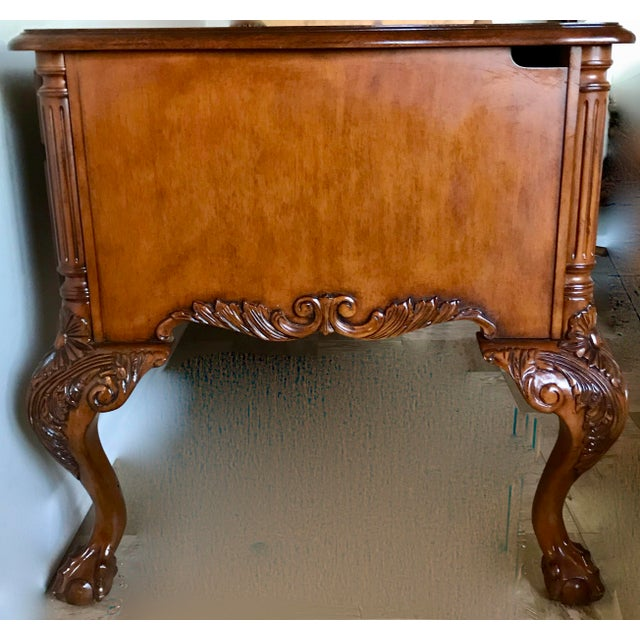 Chippendale Hekman Leather Top Writing Desk For Sale - Image 3 of 13