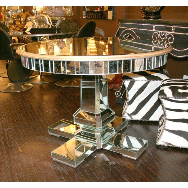Glass Custom Mirrored Center Hall Table For Sale - Image 7 of 7