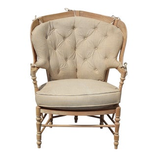 Vintage French Country Bernhardt Peacock Side Chair Off White For Sale