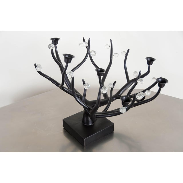 Contemporary Hand Repousse Carved Black Copper and Crystal Candelabra by Robert Kuo, Limited Edition For Sale - Image 3 of 8