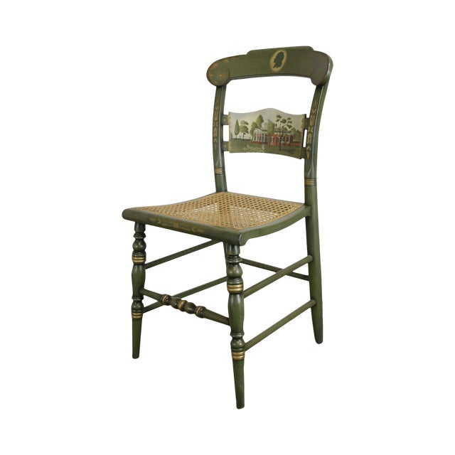"""Hitchcock Green Painted """"Thomas Jefferson's Monticello"""" Cane Seat Side Chair (B) For Sale"""