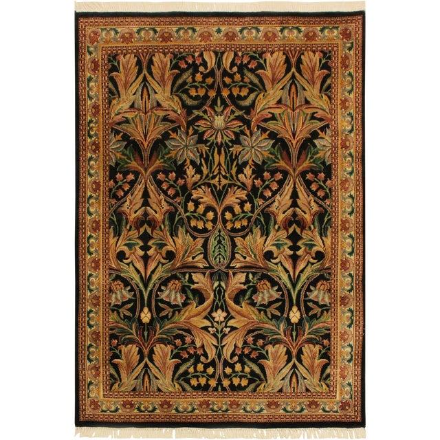 International Pak-Persian Latanya Black/Ivory Wool Rug - 4'1 X 5'1 For Sale
