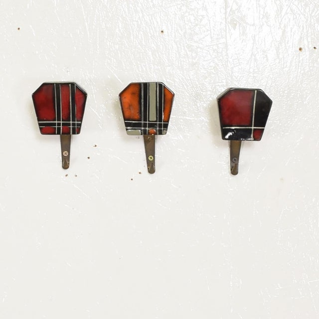 For your consideration, a set of three (3) Decorative Coat Hat Racks Hooks, Ceramic & Brass. Made in Germany. Beautiful...