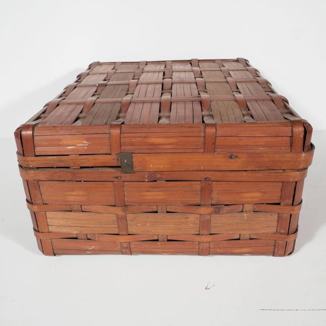 Two Korean Antique Dowery Boxes in Brown Rattan and Red Papier-Mâché For Sale - Image 10 of 11