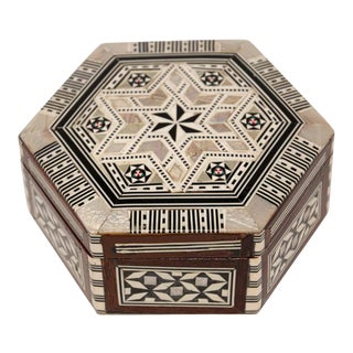 Middle Eastern Handcrafted Octagonal Box Inlaid With Mother of Pearl For Sale