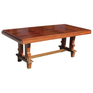 Jules Leleu Style French Art Deco Dining Table With Diamond Marquetry For Sale