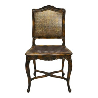 Vintage French Country Louis XV Style Carved Wood and Cane Accent Side Chair For Sale